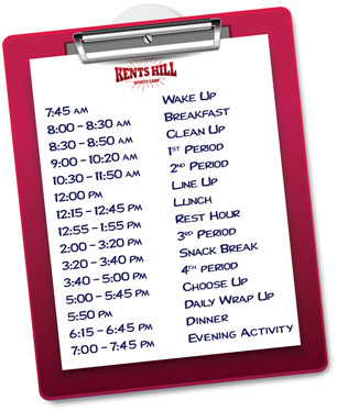 Daily Schedule of Activities for Kents Hill Sports Camp